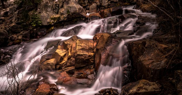 Lee Vining Creek Falls along Tioga Pass in Northern California